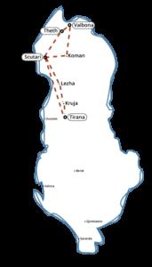 Map circuit Alibanie du nord du Theth Voyages et vacances en Albanie